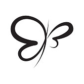 istock Abstract Butterfly calligraphy vector symbol 1283818620