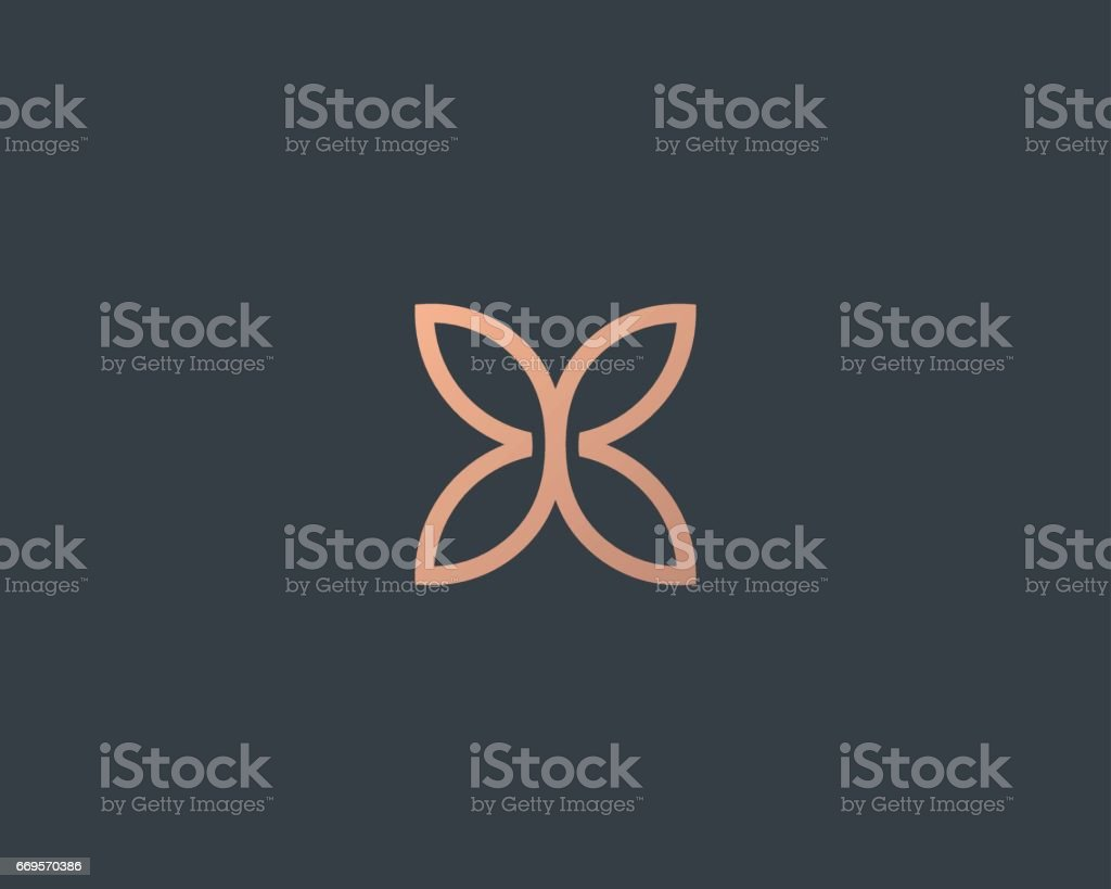 Abstract butterfly flower simple vector logotype. Line minimal universal luxury icon logo. - illustrazione arte vettoriale
