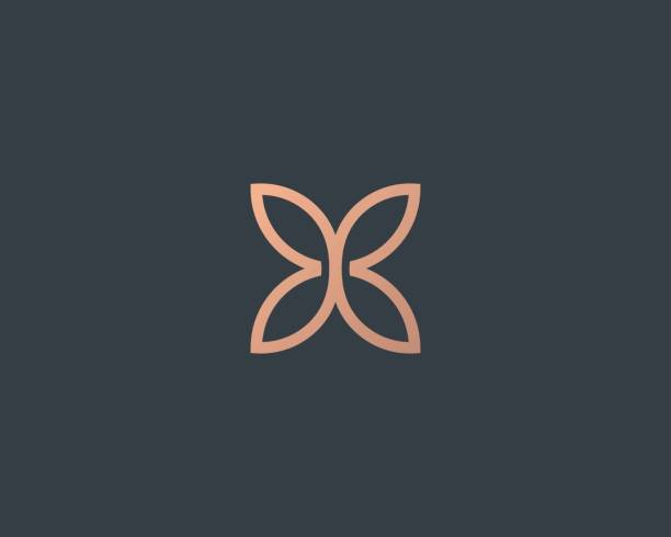 abstract butterfly flower simple vector logotype. line minimal universal luxury icon logo. - beauty stock illustrations, clip art, cartoons, & icons