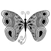 Abstract butterfly in white and black