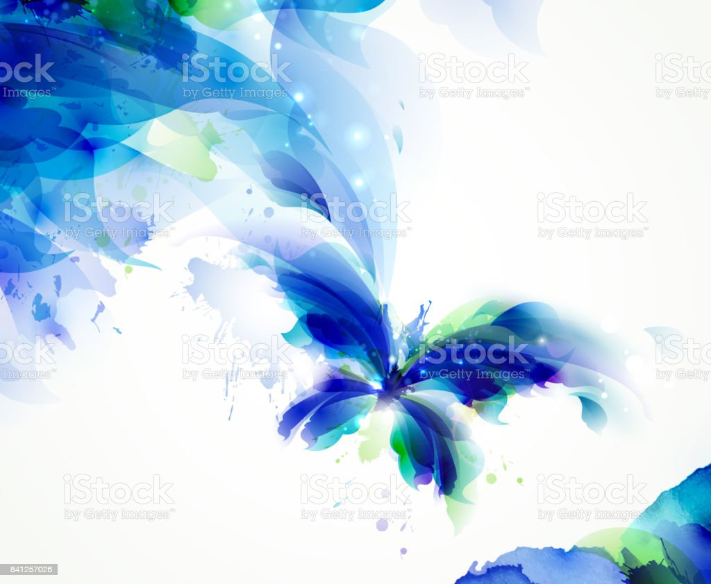 Abstract butterfly with blue and cyan blots vector art illustration