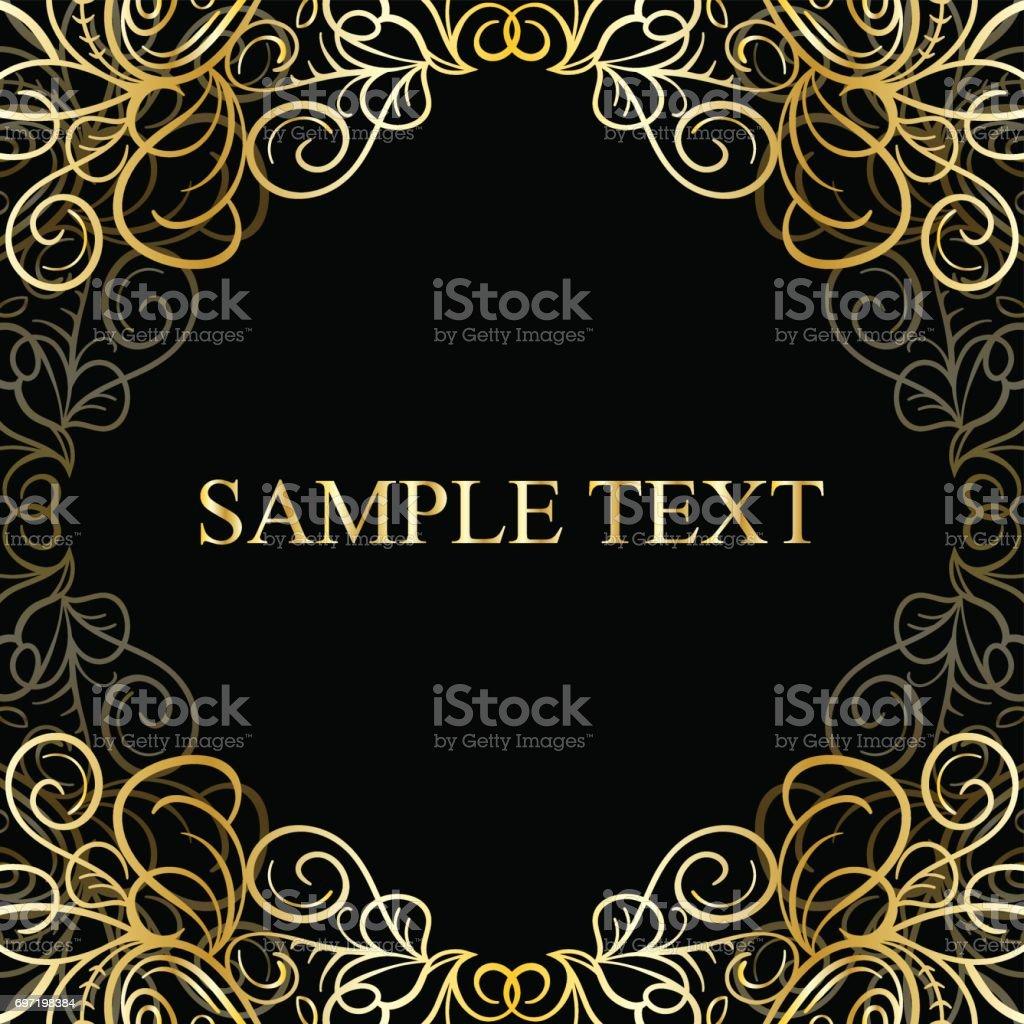 Abstrakta kalligrafiska retro lyx gyllene virvel hörnet ram med plats för text. vektorkonstillustration