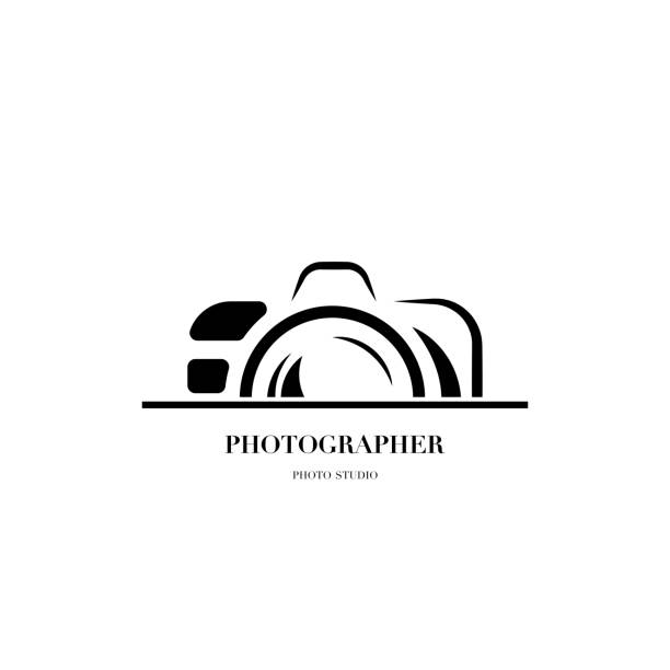 abstract camera icon vector design template for professional photographer or photo studio - fotografika stock illustrations