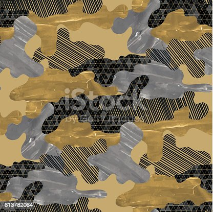 Abstract camouflage seamless pattern. Trendy fabric design in black, silver and golden colors with acrylic texture.
