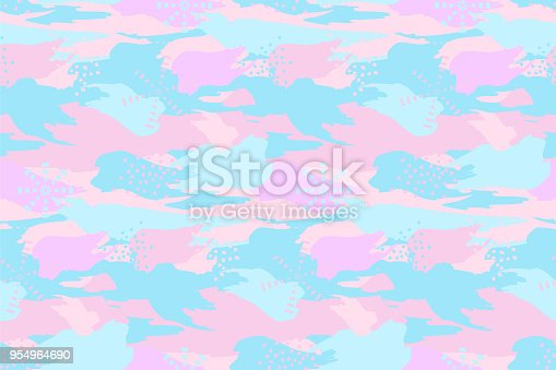 istock Abstract camouflage spotted seamless pattern. Blue pnk colors texture with small geometric design elements. 954964690