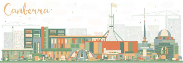bildbanksillustrationer, clip art samt tecknat material och ikoner med abstrakta canberra skyline med färg byggnader. - canberra skyline