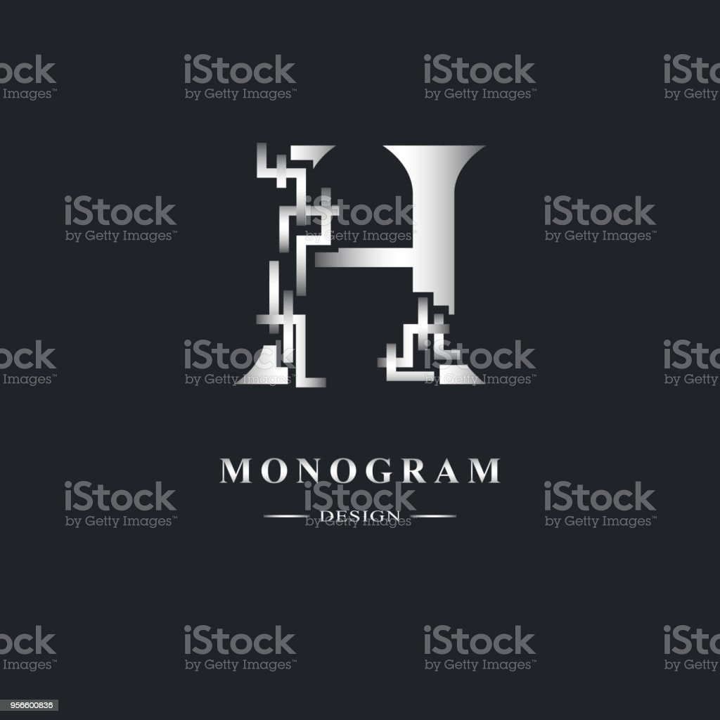 Abstract Capital Letter H Graceful Linear Style Geometric Strict