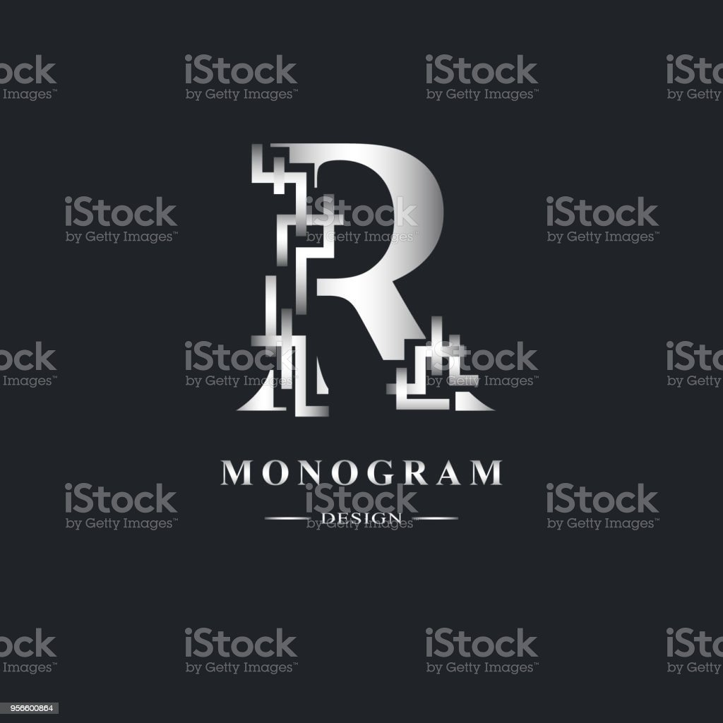 abstract capital letter r graceful linear style geometric strict design beautiful symbol