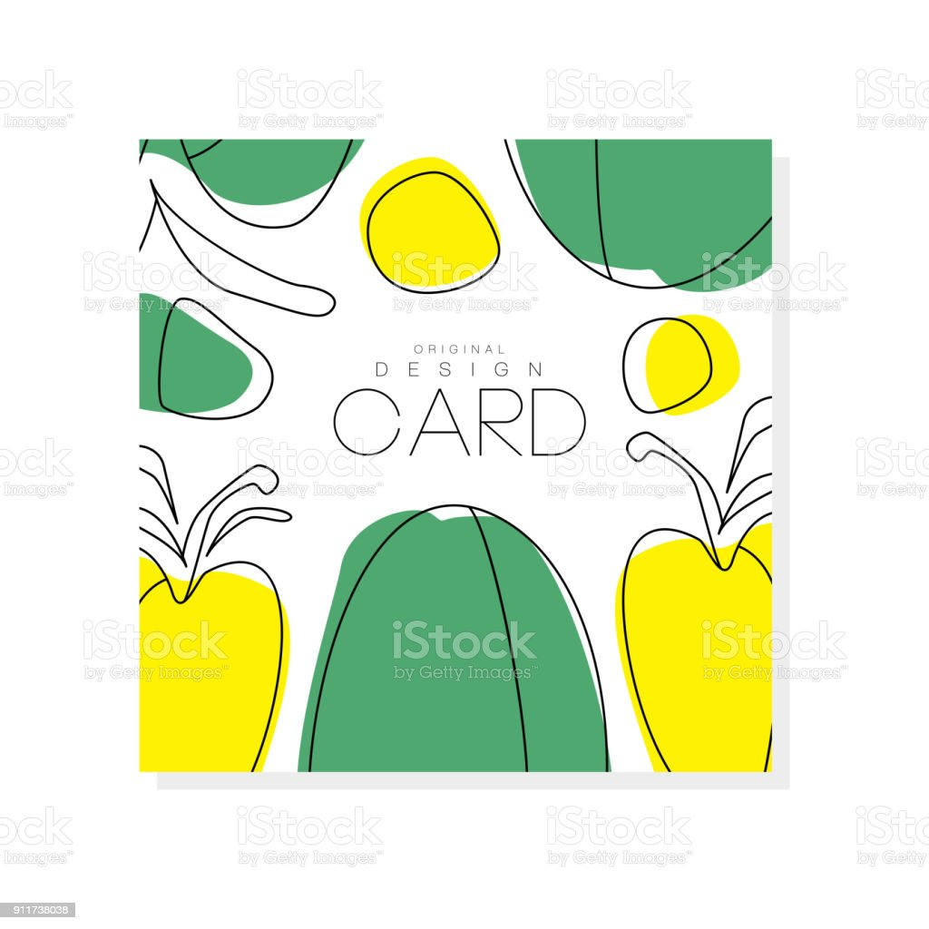Abstract Card With Green And Yellow Vegetables Healthy ...