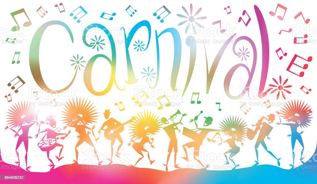 Abstract Carnival Dancers and Musicians in Summer Blurs. vector art illustration