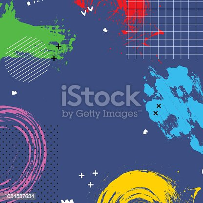 istock Abstract cartoon background with bright colors splashes. Banner design element  in trendy Memphis 80s-90s style. Vector illustration. 1084587634
