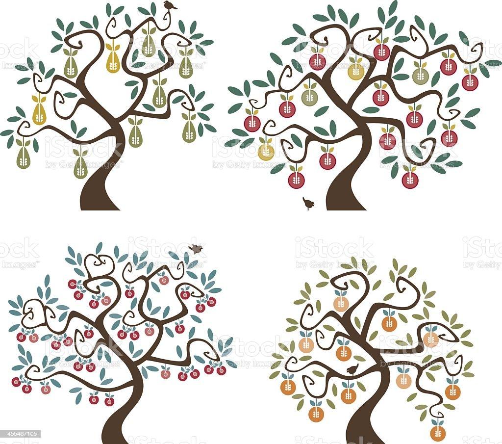 Abstract cartoon of 4 different fruit trees vector art illustration