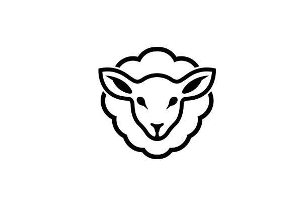 stockillustraties, clipart, cartoons en iconen met abstracte cartoon schapen logo - schaap
