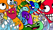 Abstract cartoon vector illustration - Funny crazy doodles characters.