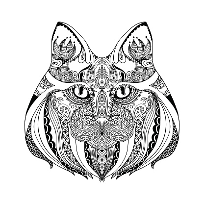 Abstract cat.Ornate isolated vector illustration