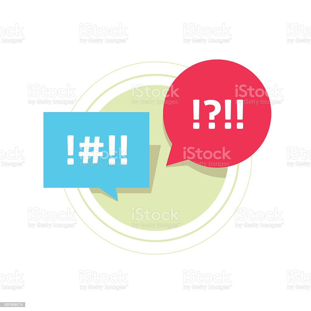Abstract censored text, concept of arguing, conflict dialog, message vector art illustration