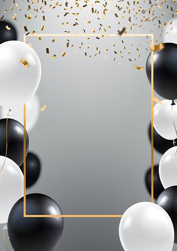 Fondo abstracto de plata ceremonial con globos blanco y negro. Marco de oro y cae confeti dorado. A4 diseño para invitación de gran apertura, venta banner, flyer de la fiesta. Vectoriales eps 10.