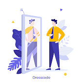Clerk, manager or businessman looking at his reflection in mirror and evaluating his attire. Concept of office dress code, formal clothing, business clothes. Modern flat colorful vector illustration.