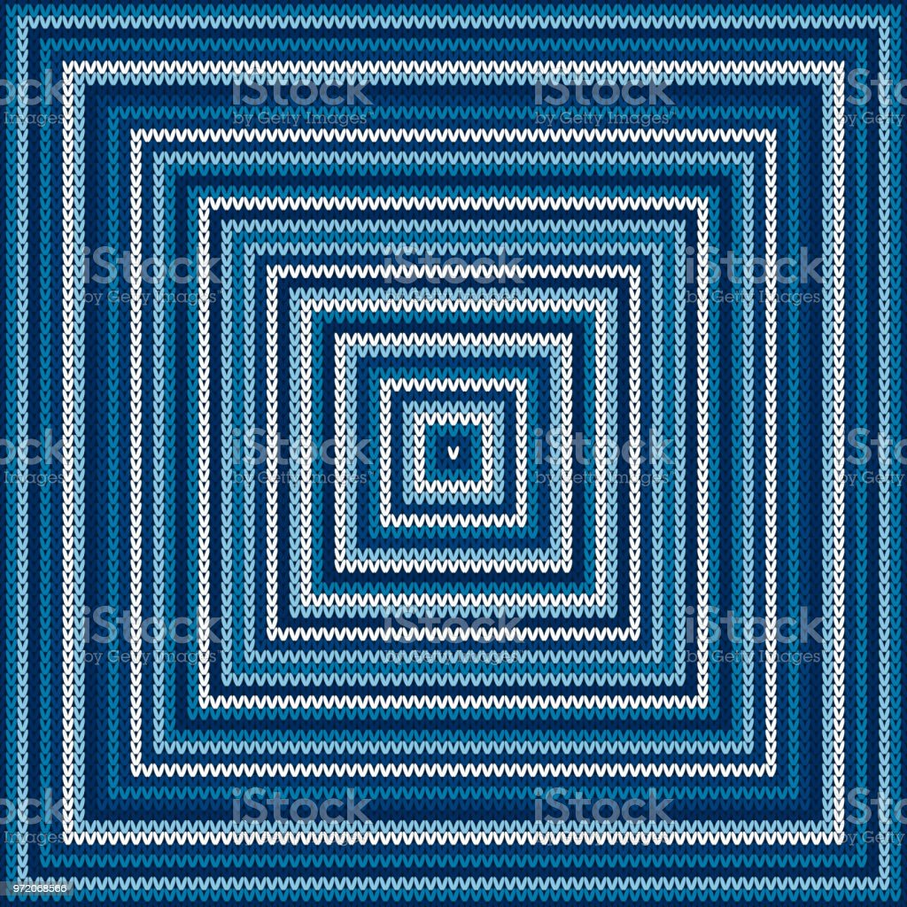 Abstract Checkered Knitted Sweater Pattern. Vector Seamless Background with Shades of Blue Colors. Wool Knit Texture Imitation vector art illustration