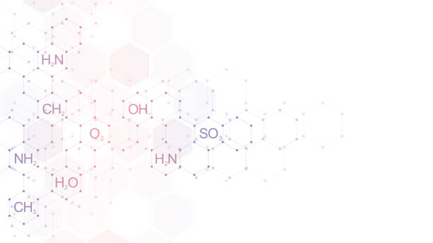 Abstract chemistry pattern on clean white background with chemical formulas and molecular structures. Template design with concept and idea for science and innovation technology. Abstract chemistry pattern on clean white background with chemical formulas and molecular structures. Template design with concept and idea for science and innovation technology chemical reaction stock illustrations