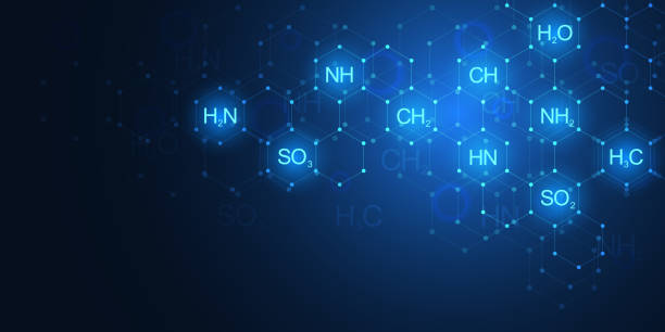 Abstract chemistry pattern on dark blue background with chemical formulas and molecular structures. Science and innovation technology concept. Abstract chemistry pattern on dark blue background with chemical formulas and molecular structures. Science and innovation technology concept chemical reaction stock illustrations