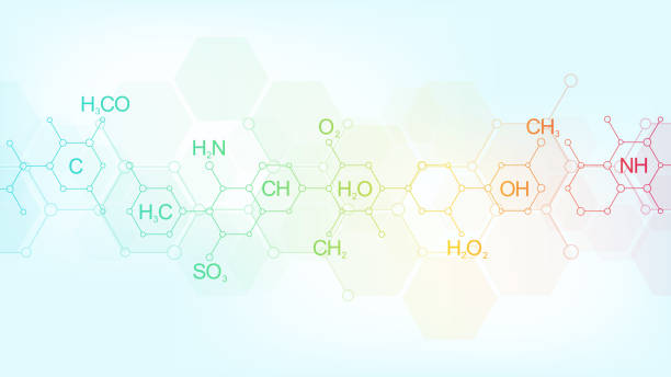 Abstract chemistry pattern on soft blue background with chemical formulas and molecular structures. Template design with concept and idea for science and innovation technology. Abstract chemistry pattern on soft blue background with chemical formulas and molecular structures. Template design with concept and idea for science and innovation technology chemical reaction stock illustrations
