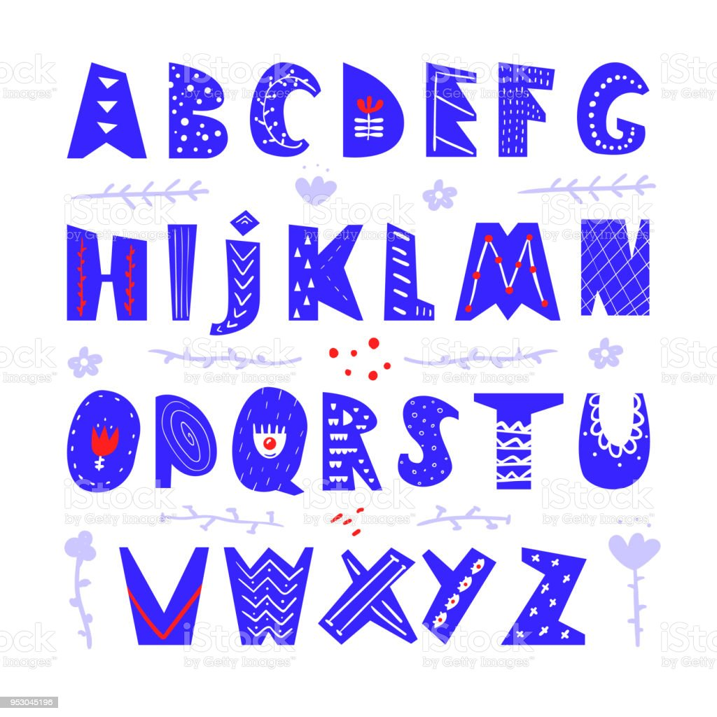 Abstract Childish Hand Drawn Alphabet Scandinavian Style Font Creative Kids ABC For Decoration
