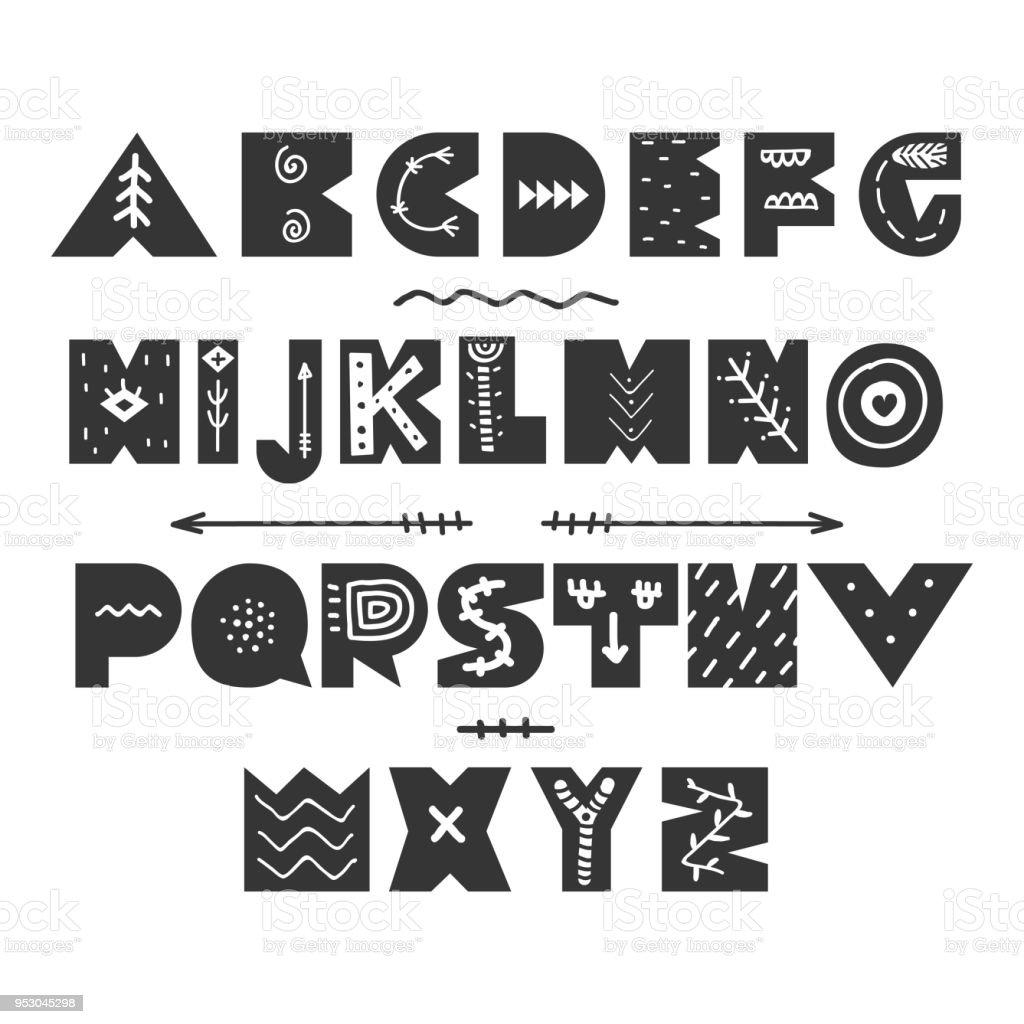Ilustración de Resumen Mano Infantil Alfabeto Dibujado Fuente De ...