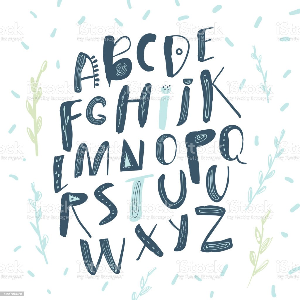 abstract childish hand drawn alphabet scandinavian style font