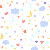 Doodle seamless background. Abstract childish weather pattern for card, invitation, wallpaper, album, scrapbook, holiday wrapping paper, textile fabric, garment, t-shirt etc