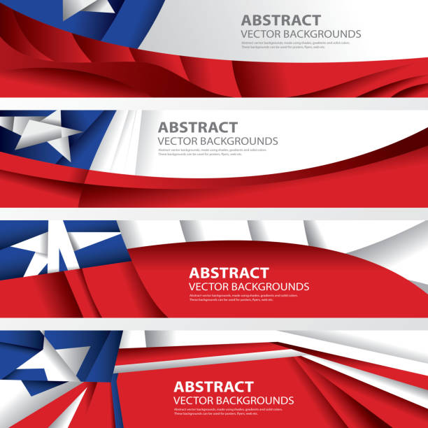abstract chile background flag collection, chilean art (vector art) - chile flag stock illustrations, clip art, cartoons, & icons