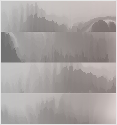 abstract Chinese mountains and waters painting mountain landscape banner collection