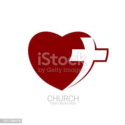 istock Abstract christian cross logo vector template. Church logo. 1311295225