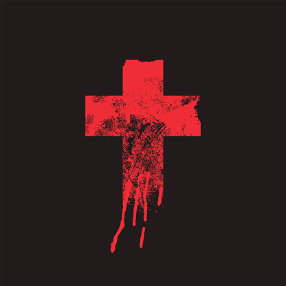 Abstract Christian Cross on the black background