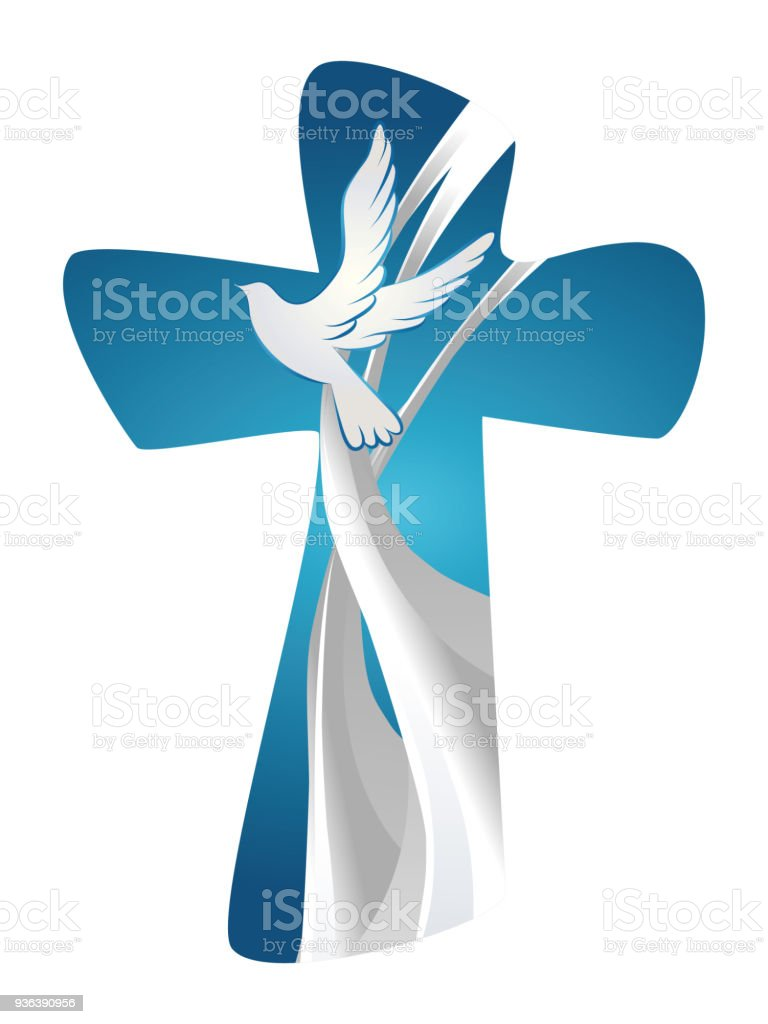 Abstract Christian Cross Symbol Holy Spirit With Dove On Blue