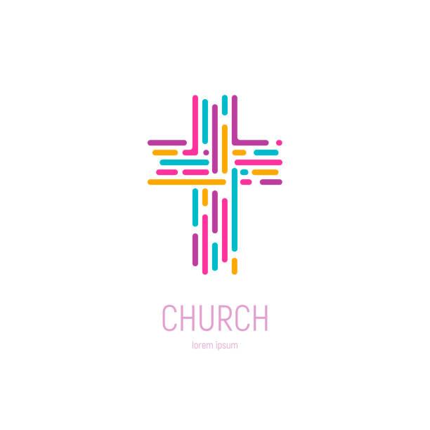 Abstract christian cross vector template. Church emblem Abstract christian cross vector template. Church emblem. Vector illustration gospel choir stock illustrations