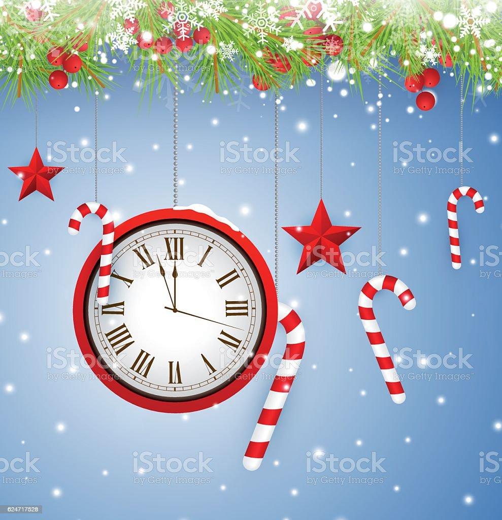 Abstract christmas background - clock vector art illustration
