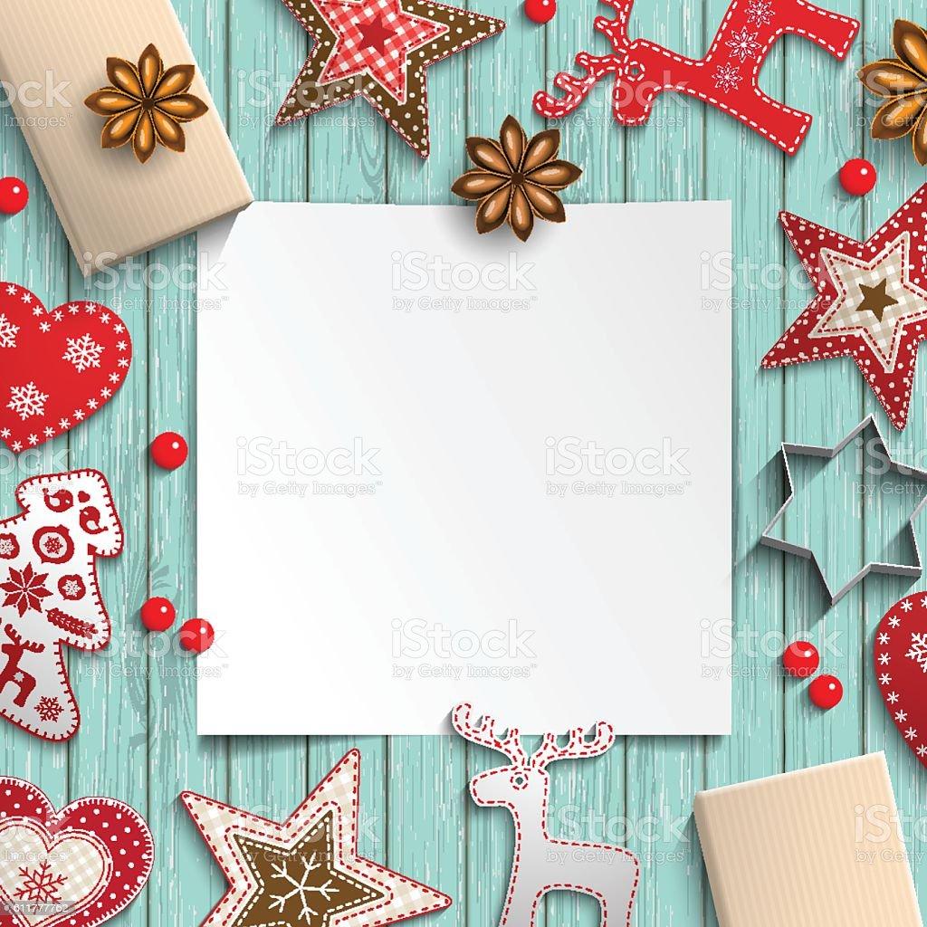 Abstract christmas background, white sheet of paper lying among small - ilustración de arte vectorial