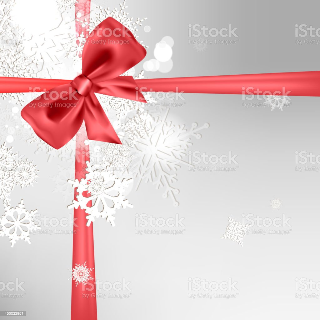Abstract Christmas background with bow vector art illustration