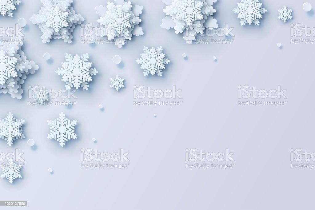 Weihnachten Hintergrund Mit Volumetrischen Papier Schneeflocken Zu ...