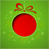 Abstract red Christmas balls cutted from paper on green background. Vector eps10 illustration