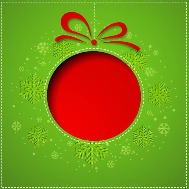 tło boże narodzenie kulki cutted z papieru na zielone tło - new year stock illustrations