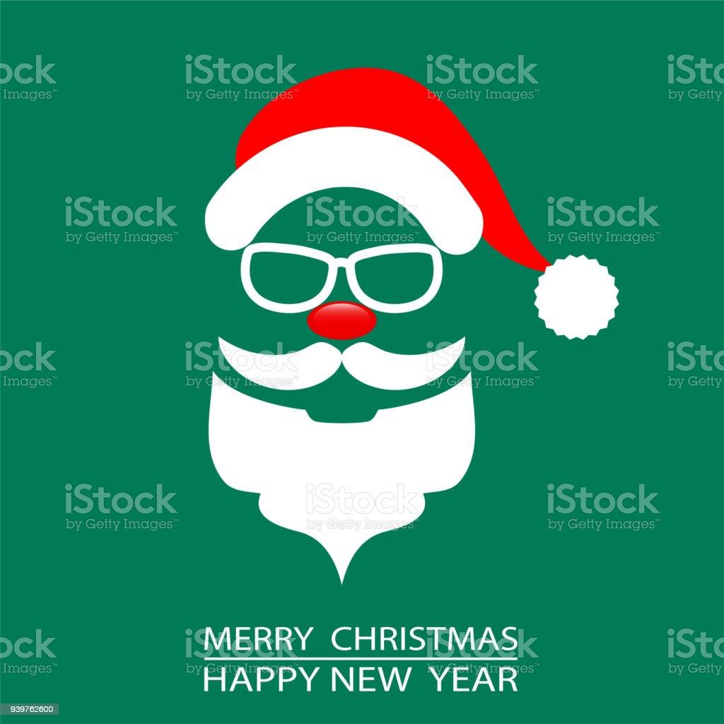 Abstracte Kerstkaart Santa Op Groene Achtergrond Voorraad