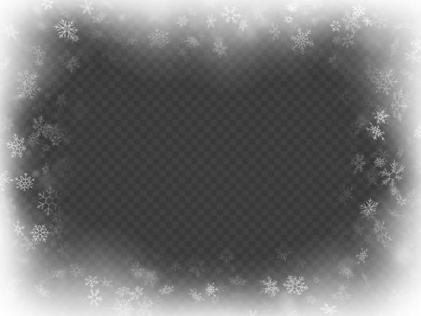 abstract christmas frame overlay effect with snowflakes. eps 10 - виньетка stock illustrations