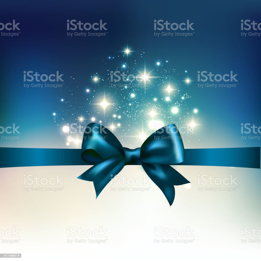 Abstract Christmas  light background with ribbon vector art illustration