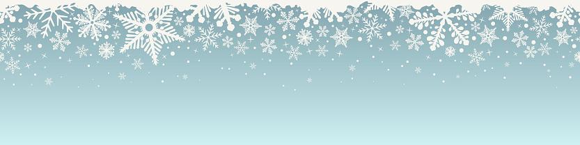 Abstract Christmas top snowflake seamless border.