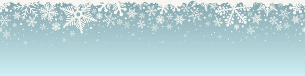 Abstract Christmas top snowflake seamless border. Abstract Christmas top snowflake seamless border. Background with white snowflakes and copy space. Vector illustration. christmas backgrounds stock illustrations