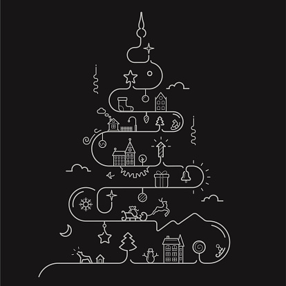 Vector illustration of Abstract Christmas tree in line style with elements of Christmas, New Year, winter themes