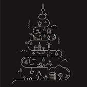 istock Abstract Christmas tree in line style 520887225