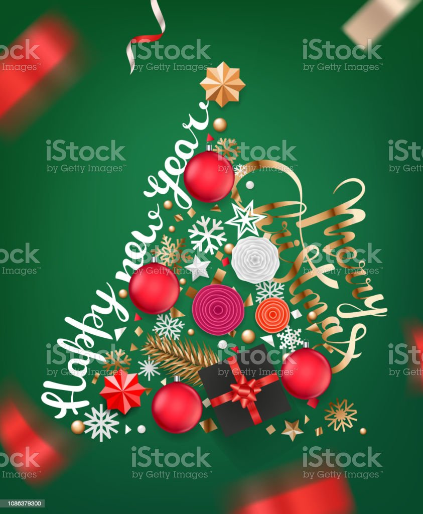 Christmas Images 2019 Download.Abstract Christmas Tree Of Different Holiday Stuff Stock Illustration Download Image Now